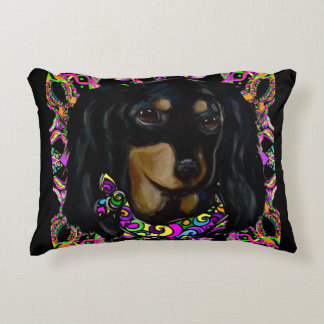 Long Haired Black Doxie Decorative Cushion