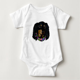 Long Haired Black Doxie Mardi Gras Baby Bodysuit
