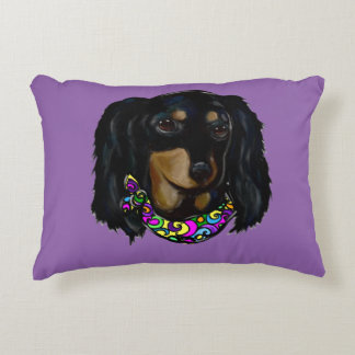 Long Haired Black Doxie Mardi Gras Decorative Cushion
