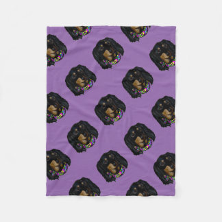 Long Haired Black Doxie Mardi Gras Fleece Blanket