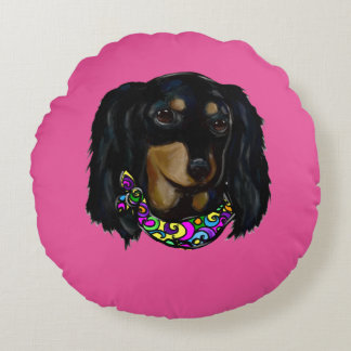 Long Haired Black Doxie Mardi Gras Round Cushion