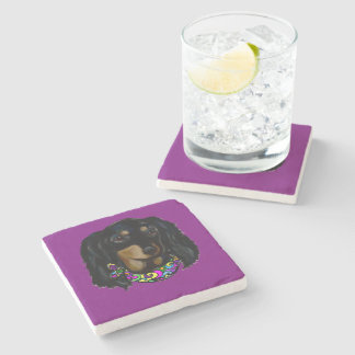 Long Haired Black Doxie Mardi Gras Stone Coaster