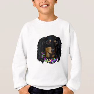 Long Haired Black Doxie Mardi Gras Sweatshirt