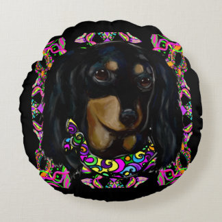 Long Haired Black Doxie Round Cushion