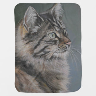 Long Haired Cat Art Reproduction Baby Blanket
