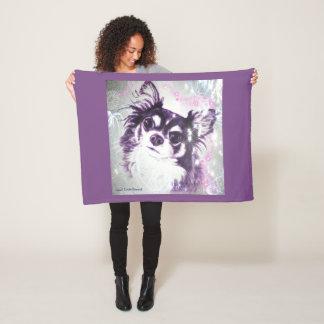 Long Haired Chihuahua by  Carol Zeock Fleece Blanket