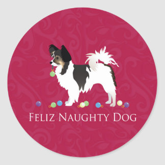 Long-haired Chihuahua Christmas Design Classic Round Sticker