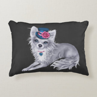 Long Haired Chihuahua Pillow wearing Hat with Flow