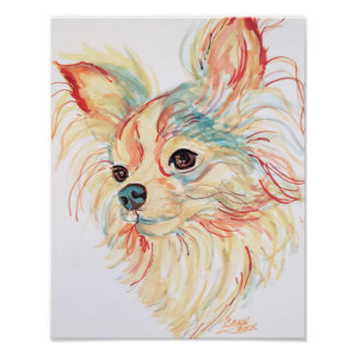 Long Haired Chihuahua Pop Art Poster