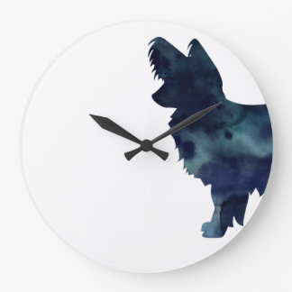 Long-haired Chihuahua Watercolor Black Silhouette Wallclocks