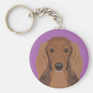 Long-Haired-Dachshund Basic Round Button Key Ring