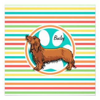 Long-haired Dachshund Bright Rainbow Stripes Personalized Invite