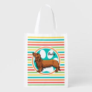 Long-haired Dachshund; Bright Rainbow Stripes Reusable Grocery Bag