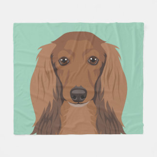 Long-Haired-Dachshund Fleece Blanket