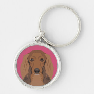Long-Haired-Dachshund Key Ring