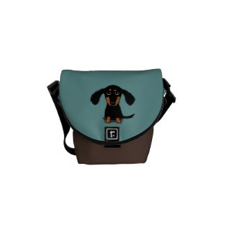Long Haired Dachshund Puppy Messenger Bags