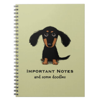 Long Haired Dachshund Puppy with Custom Text Spiral Notebook