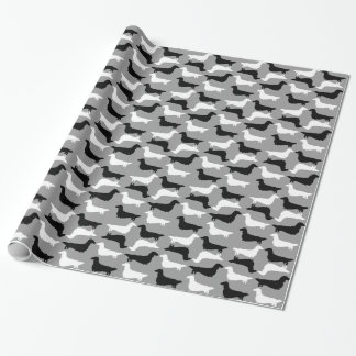 Long Haired Dachshund Silhouettes Pattern Wrapping Paper
