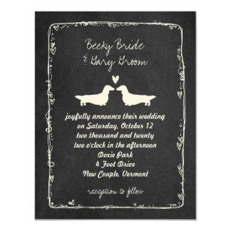 Long Haired Dachshund Silhouettes Wedding 11 Cm X 14 Cm Invitation Card