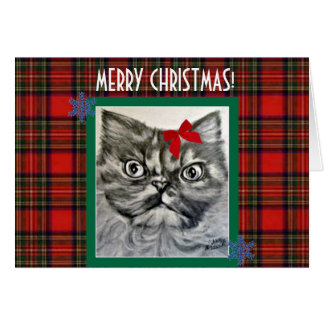 Long-Haired Exotic Cat Merry Christmas Card
