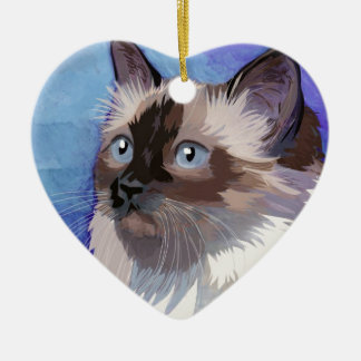 Long-haired Siamese Himalayan Cat Ceramic Ornament