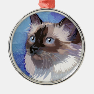 Long-haired Siamese Himalayan Cat Metal Ornament