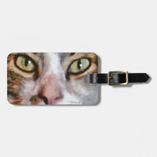 Long Haired Tabby Cat Close Up Portrait Luggage Tag