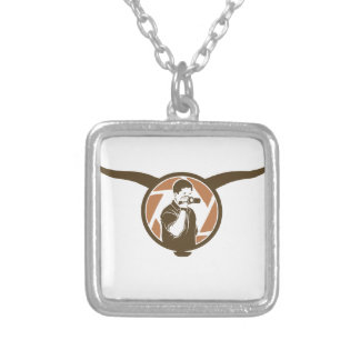 Long Horn Bull Videography Silver Plated Necklace
