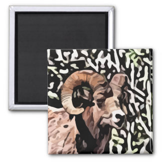 long horn sheep painting square magnet