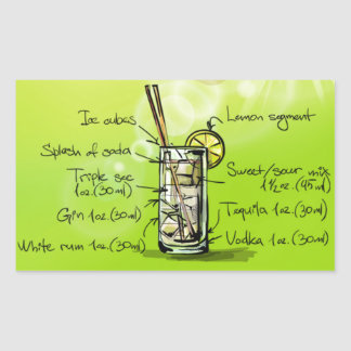 Long Island Iced Tea - Cocktail Gift Rectangular Sticker