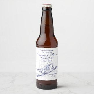 Long Island The Hamptons Map Beer Bottle Label