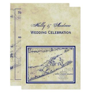 Long Island The Hamptons Map Distressed VC Wedding Card