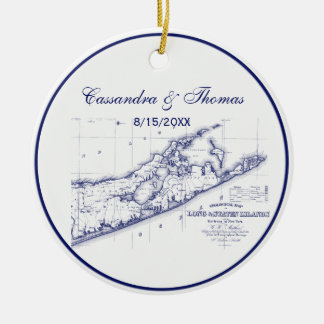 Long Island The Hamptons Map VC Ceramic Ornament