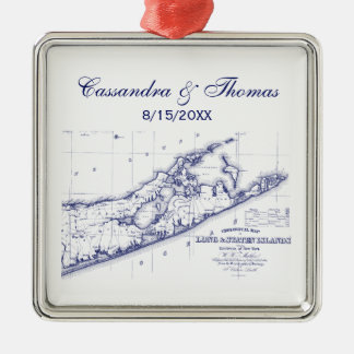 Long Island The Hamptons Map VC Metal Ornament