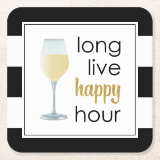 Long Live Happy Hour Funny Drinking Quote Square Paper Coaster
