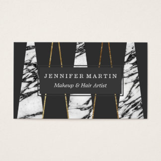 Long Modern Marble Black and Gold Triangles Business Card