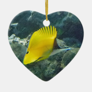 Long Nose Butterfly Fish Ceramic Heart Decoration