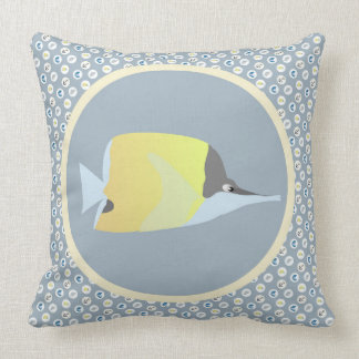 Long Nose Butterfly Fish with Nautical Icons Cushion