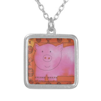 Long Pig Silver Plated Necklace