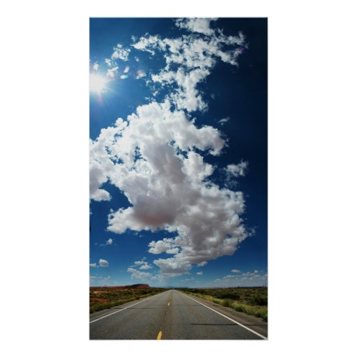 Long road, Long clouds Poster