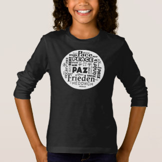 Long sleeve T shirt white peace in multi languages