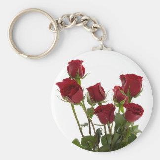 Long Stem Red Roses Basic Round Button Key Ring