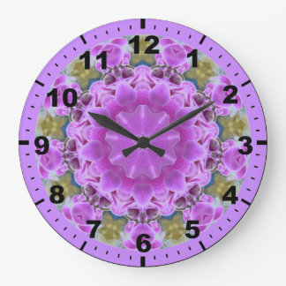 ~ Long Stemmed Purple Orchids Fractal ~ Large Clock