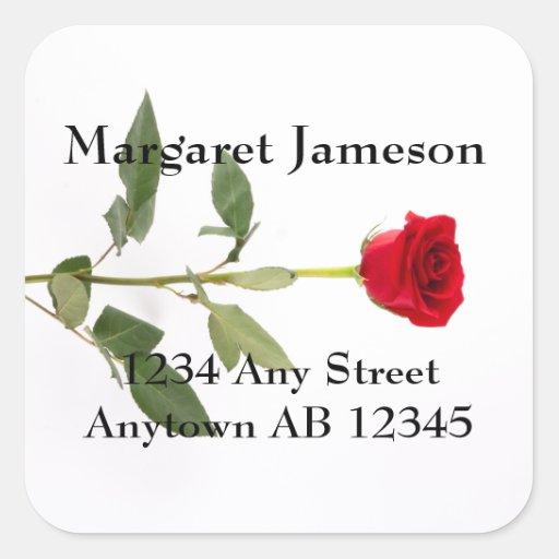 Long Stemmed Red Rose Wedding Return Address Square Stickers