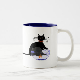 Long Tail Cat Gone Fishin' Two-Tone Coffee Mug