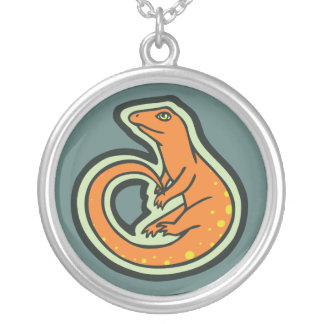Long Tail Orange Lizard With Spots Drawing Design Round Pendant Necklace