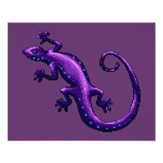 Long Tail Purple Lizard Blue Spots Pixel Photograph