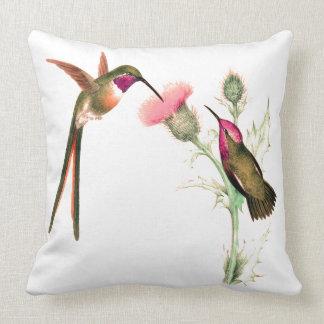 Long Tailed Hummingbird Birds Flowers Throw Pillow