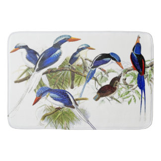 Long Tailed Kingfisher Birds Collage Bath Mat