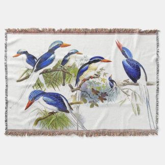 Long Tailed Kingfisher Birds Pond Throw Blanket